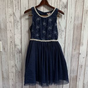 Nanette Lepore girls navy blue dress size 16